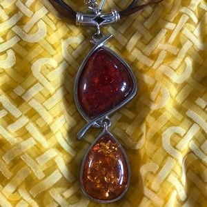 Jewelry - Gold & Red Pendant on silver & brown necklace